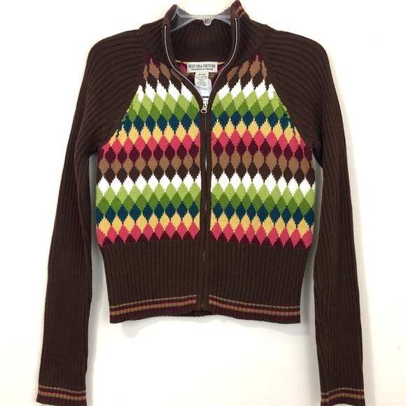 Next Era Sweaters - Next Era Juniors Brown Argyle Zip Cardigan